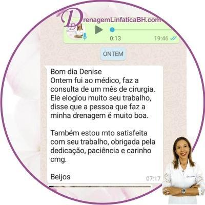 Depoimento da Cliente com Elogio do Médico, após ela receber um pacote de Drenagem Linfatica Manual no pós Cirurgico em Belo Horizonte.