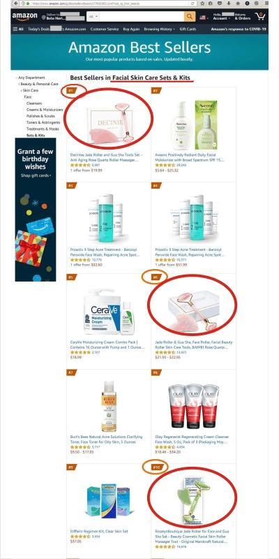 O Rolo de Jade ocupa as primeiras posições entre os produtos mais vendidos para Tratamento Facial na Amazon USA